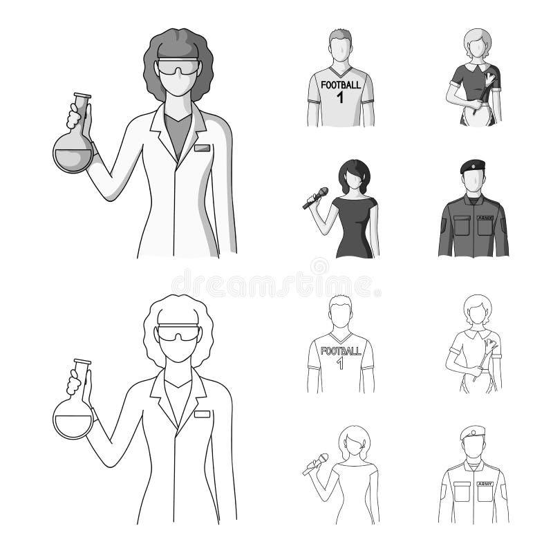Kvinnakemist, fotbollsspelare, hotellhembiträde, sångare, presentatör Fastställda samlingssymboler för yrke i översikten, monokro royaltyfri illustrationer