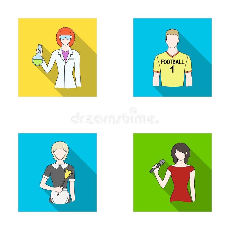 Kvinnakemist, fotbollsspelare, hotellhembiträde, sångare, presentatör Fastställda samlingssymboler för yrke i plan stilvektor stock illustrationer