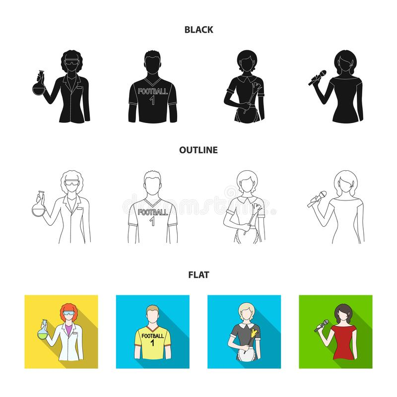 Kvinnakemist, fotbollsspelare, hotellhembiträde, sångare, presentatör Fastställda samlingssymboler för yrke i svart, lägenhet, öv stock illustrationer