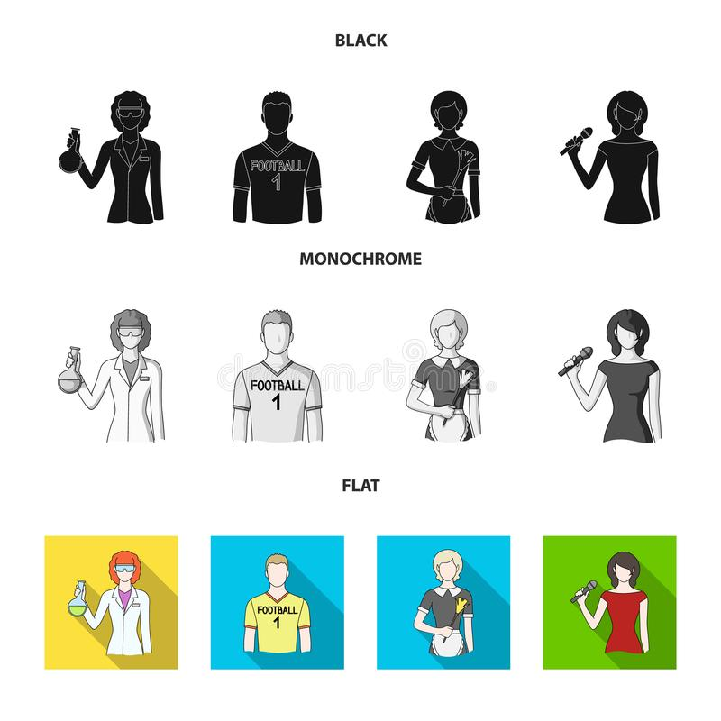 Kvinnakemist, fotbollsspelare, hotellhembiträde, sångare, presentatör Fastställda samlingssymboler för yrke i svart, lägenhet, mo vektor illustrationer