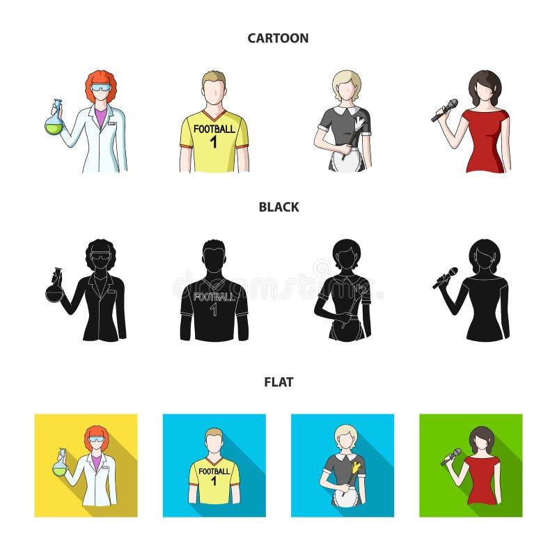 Kvinnakemist, fotbollsspelare, hotellhembiträde, sångare, presentatör Fastställda samlingssymboler för yrke i tecknade filmen, sv stock illustrationer