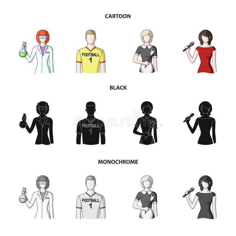 Kvinnakemist, fotbollsspelare, hotellhembiträde, sångare, presentatör Fastställda samlingssymboler för yrke i tecknade filmen, sv vektor illustrationer