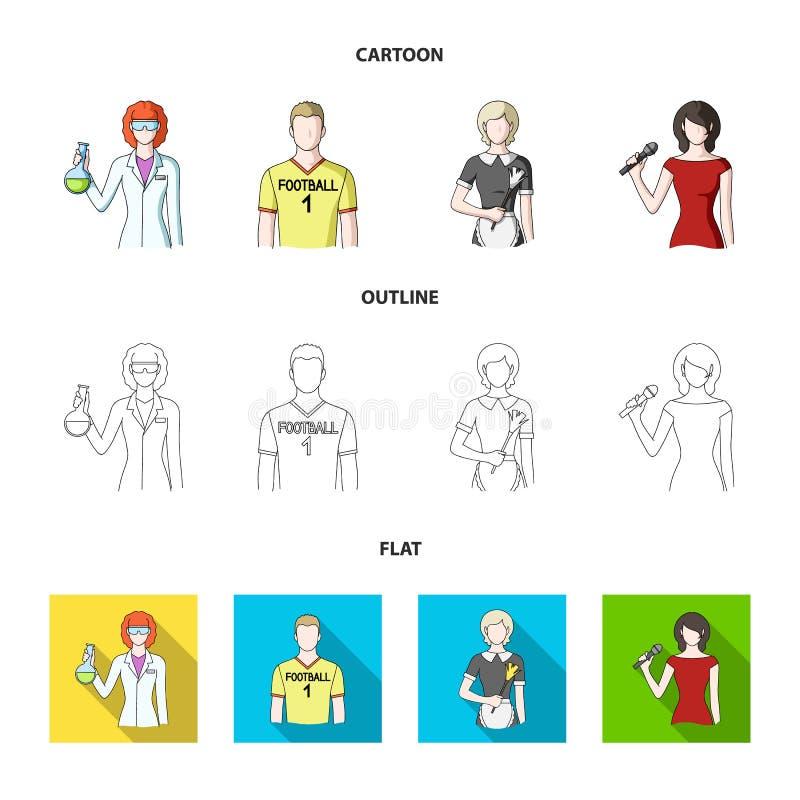 Kvinnakemist, fotbollsspelare, hotellhembiträde, sångare, presentatör Fastställda samlingssymboler för yrke i tecknade filmen, öv stock illustrationer
