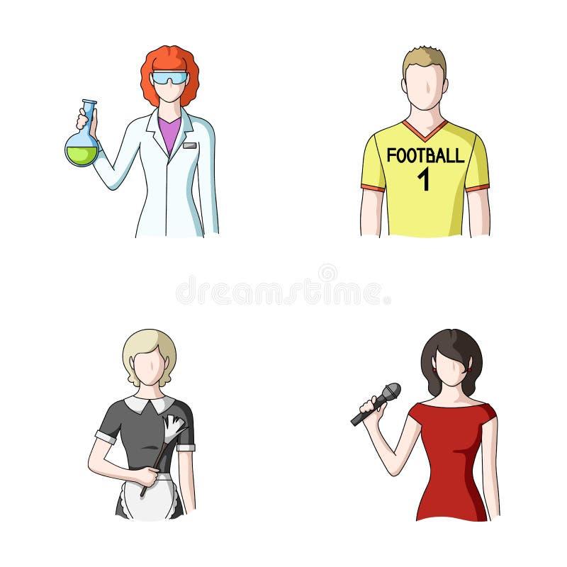 Kvinnakemist, fotbollsspelare, hotellhembiträde, sångare, presentatör Utformar fastställda samlingssymboler för yrke i tecknad fi vektor illustrationer