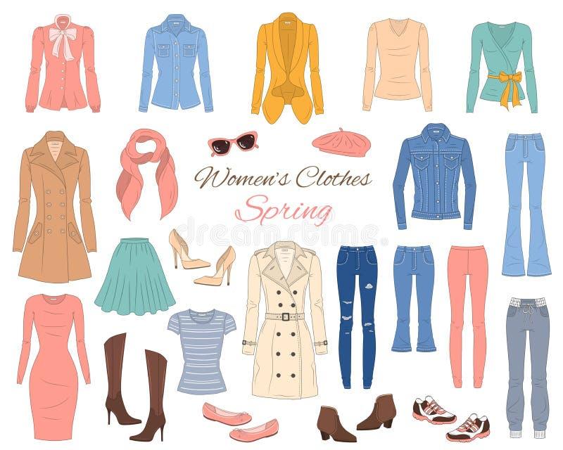 Kvinnaklädersamling Vårdräkt också vektor för coreldrawillustration vektor illustrationer