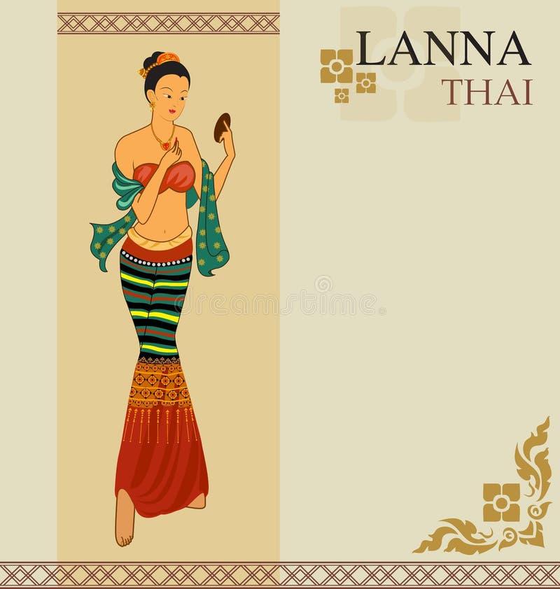 Kvinnaklänning Thailand vektor illustrationer