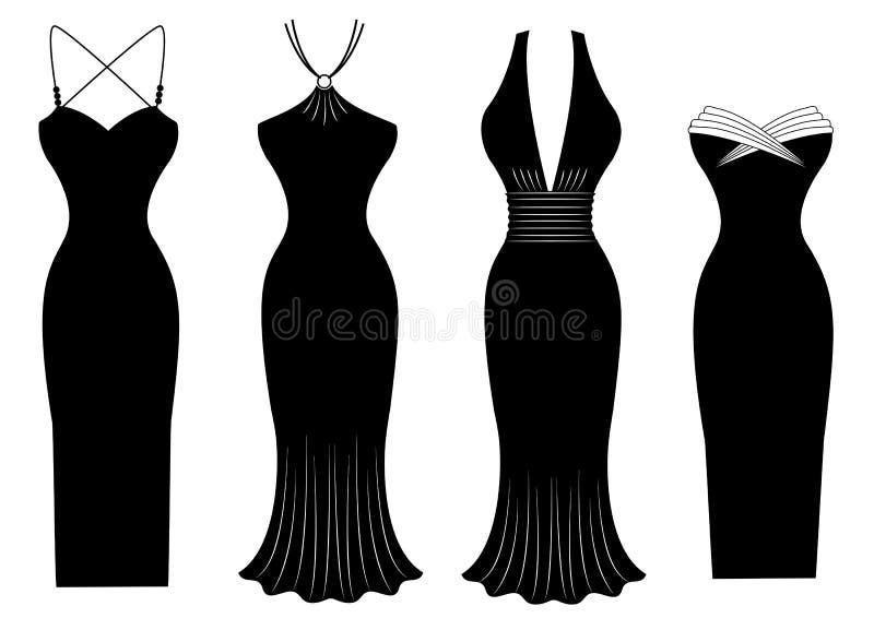 Kvinnaklänningar för det speciala partit som isoleras på vit   royaltyfri illustrationer