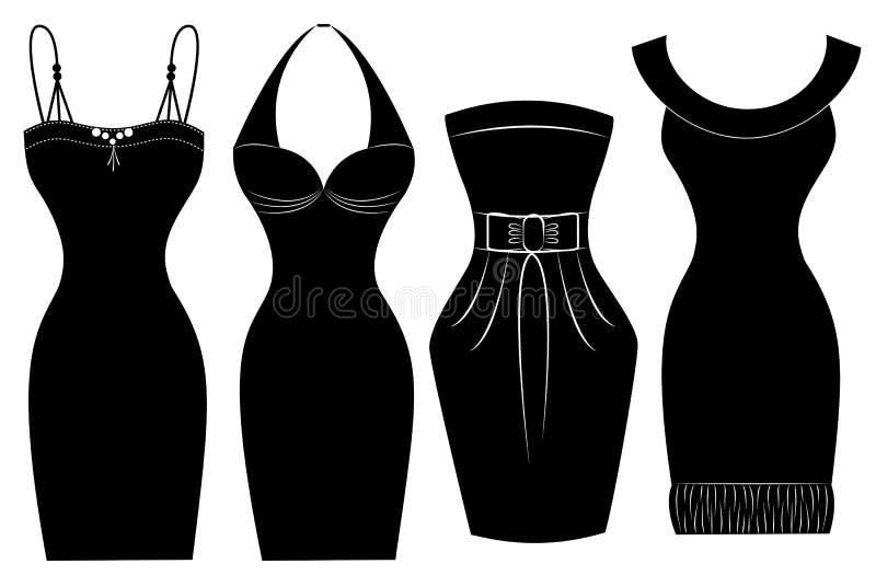 Kvinnaklänningar för det speciala partit som isoleras på vit   vektor illustrationer