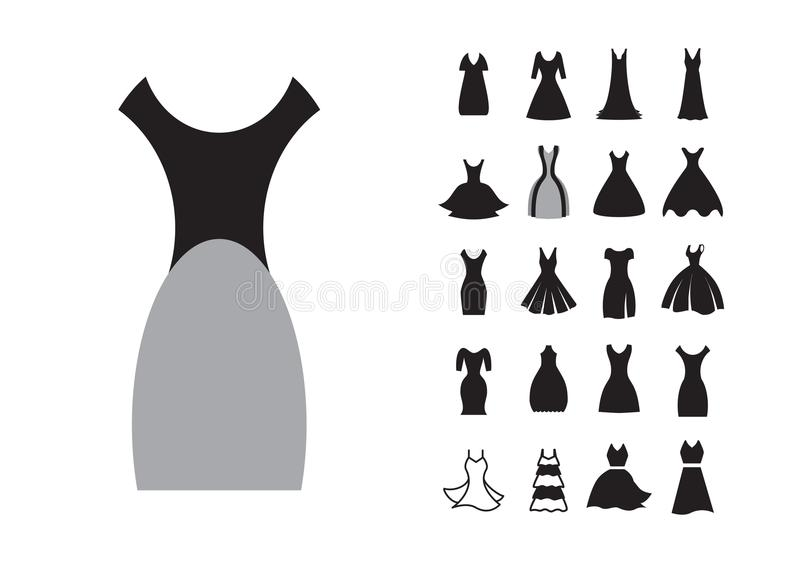 Kvinnaklänningsymbol stock illustrationer