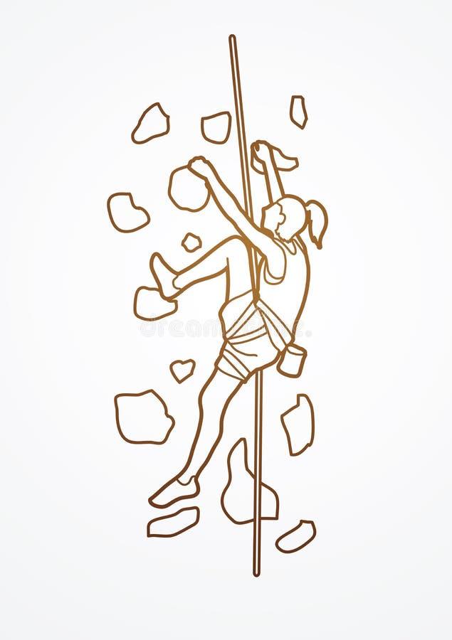 Kvinnaklättring på väggen vektor illustrationer