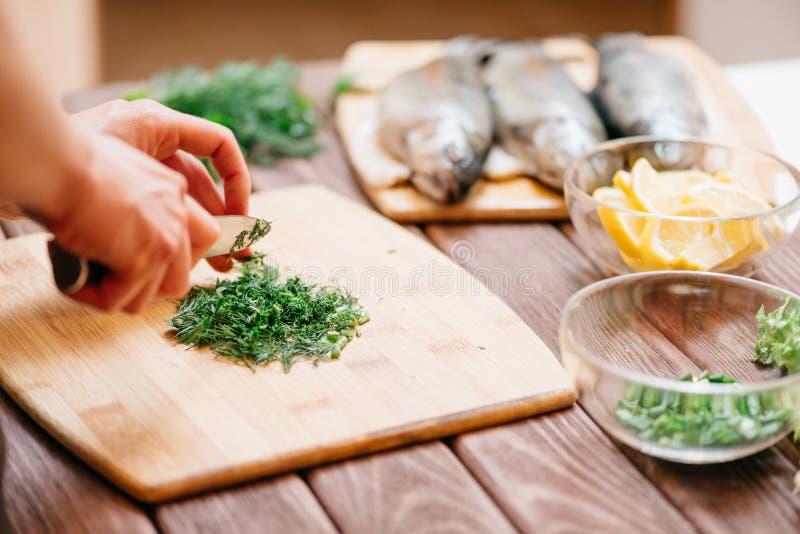 Kvinnaklippgrönska för fiskmaträtt på matställe royaltyfri bild