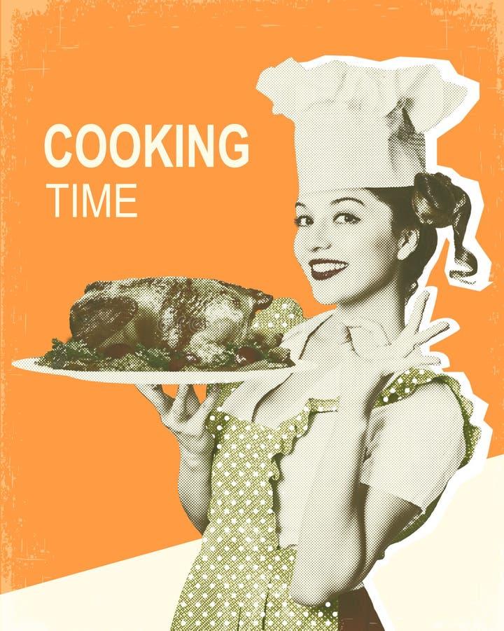 Kvinnakock och grillad höna Retro affisch på gammal pappers- backgro royaltyfria bilder