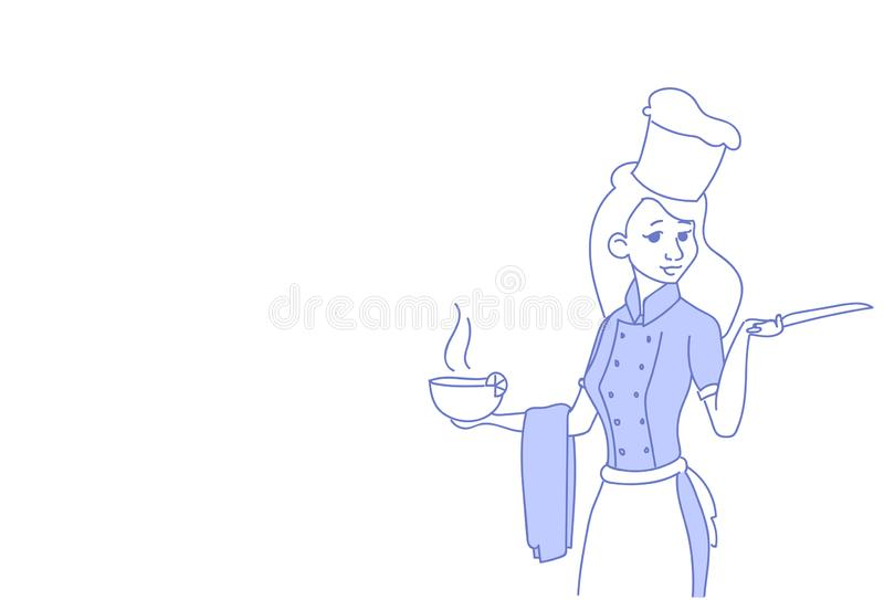 Kvinnakockinnehavet som ångar likformign för restaurangen för bunkesoppa den kvinnliga högsta, skissar klotterhorisontalståenden royaltyfri illustrationer