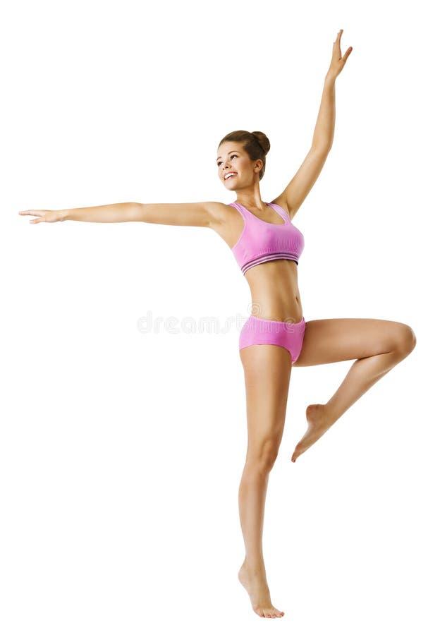 Kvinnakondition och sportdans, aerobisk dansare för ung flickadans arkivfoto