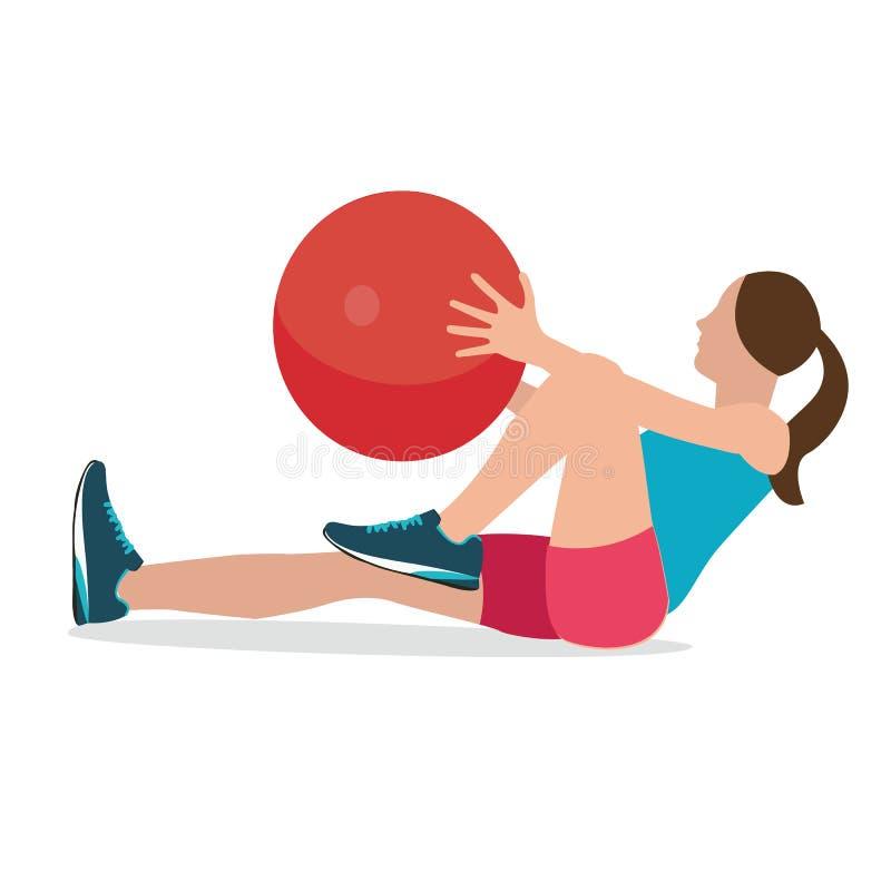 Kvinnakonditionposition genom att använda kvinnlign för jämvikt för workput för utbildning för idrottshall för stabilitetsbollövn stock illustrationer