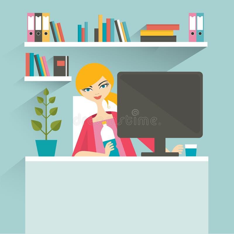 Kvinnakontorsarbetsplats sekreterare royaltyfri illustrationer