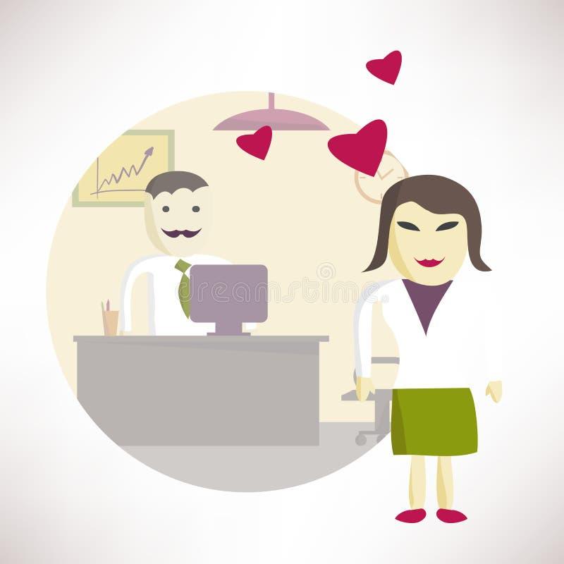 Kvinnakontorschef som är förälskad med en man i kontoret vektor illustrationer
