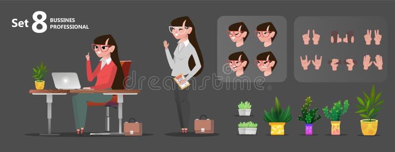Kvinnakontorstecken ställde in för animering stock illustrationer