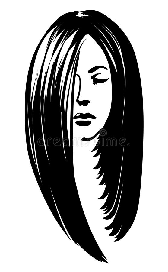 Kvinnakontur med att utforma för hår vektor illustrationer