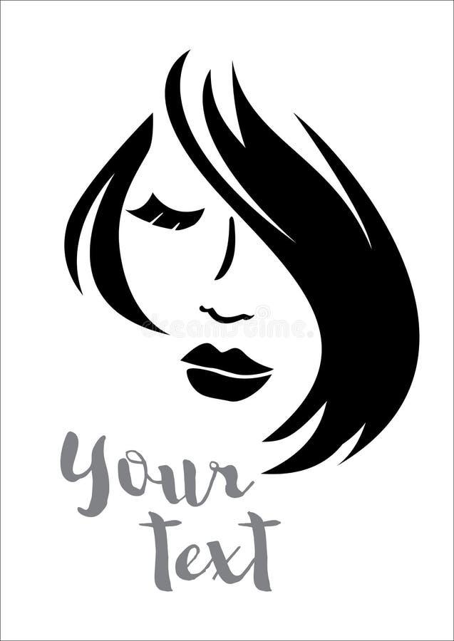 Kvinnakontur med att utforma för hår royaltyfri illustrationer