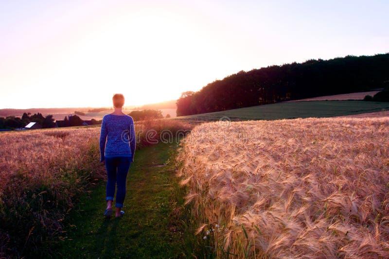 Kvinnakontur som går en grusbana på solnedgången mot solen arkivbilder