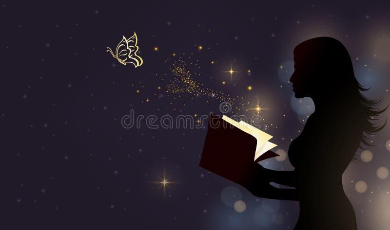 Kvinnakonturn med den magiska boken, önskar kommer det riktiga begreppet royaltyfri illustrationer