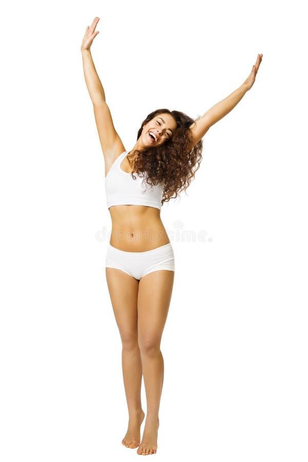 Kvinnakroppskönhet, lycklig modell i vita underkläderarmar upp, Beaut arkivbilder