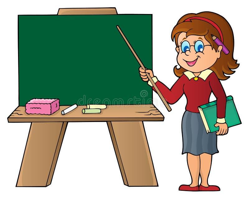 Kvinnalärareanseende vid schoolboard royaltyfri illustrationer