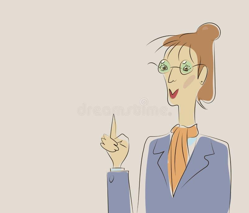 Kvinnaläraren i strikt dräkt och exponeringsglas lyftte hennes finger, appeller för uppmärksamhetvektorillustration stock illustrationer