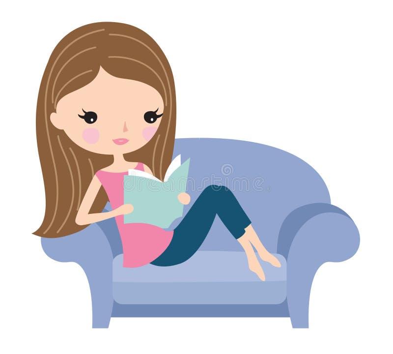 Kvinnaläsebok på den hemtrevliga soffan royaltyfri illustrationer