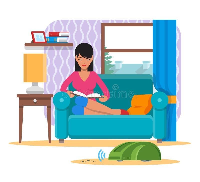 Kvinnaläsebok på soffan medan inhemsk robotrengöring för dammsugare ett rum Vektor för robotteknikteknologibegrepp vektor illustrationer