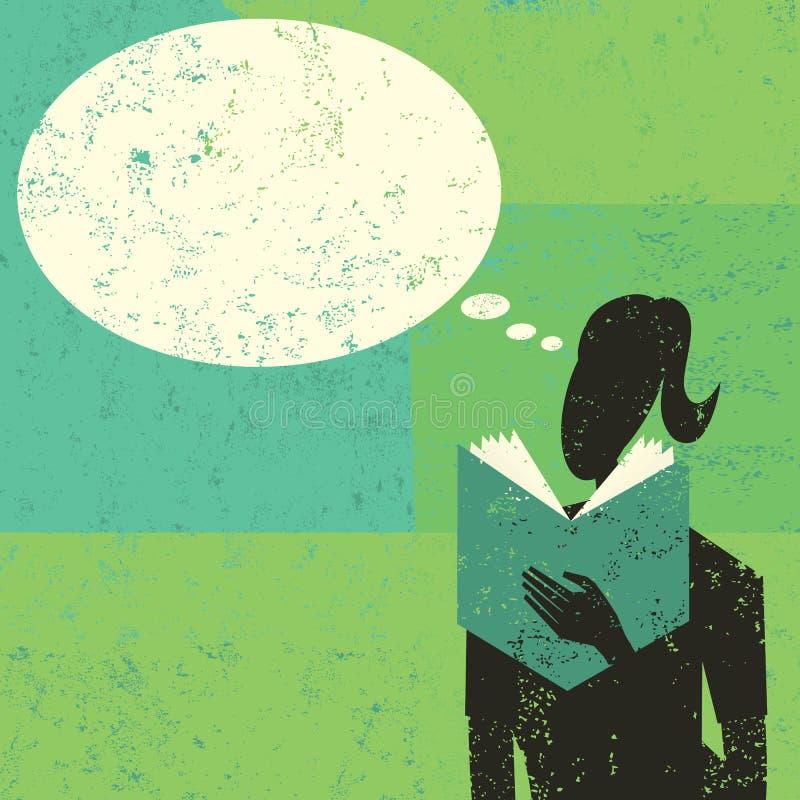 Kvinnaläsning en boka stock illustrationer
