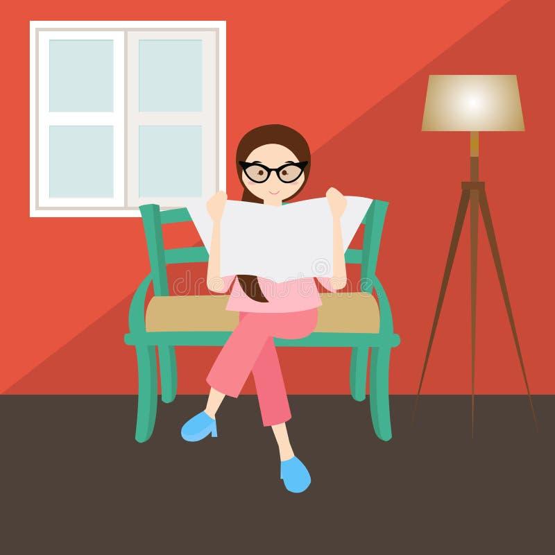 Kvinnaläsning i exponeringsglas för fönster för hem för hörnvardagsrumhus royaltyfri illustrationer
