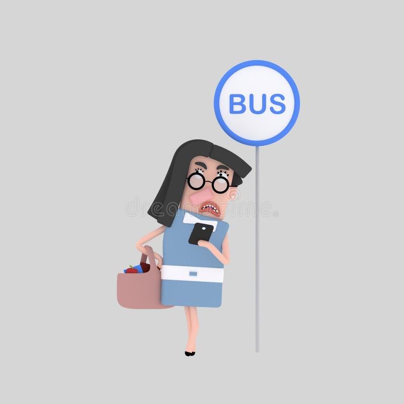 Kvinnaläsning på hållplatsen vektor illustrationer