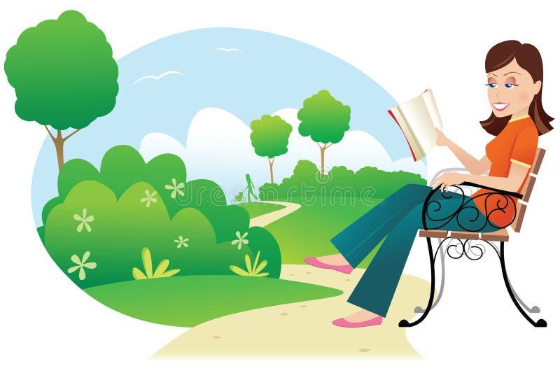 Kvinnaläsning parkerar in royaltyfri illustrationer