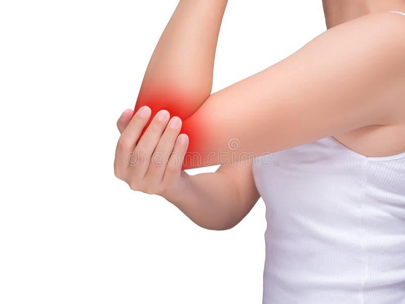 Kvinnalidande från armbåge smärtar, gemensam plågor röd viktig royaltyfri bild