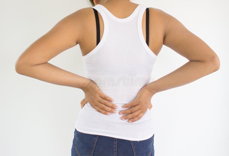 Kvinnalidande från tillbaka smärtar, eller ryggen smärtar royaltyfria bilder