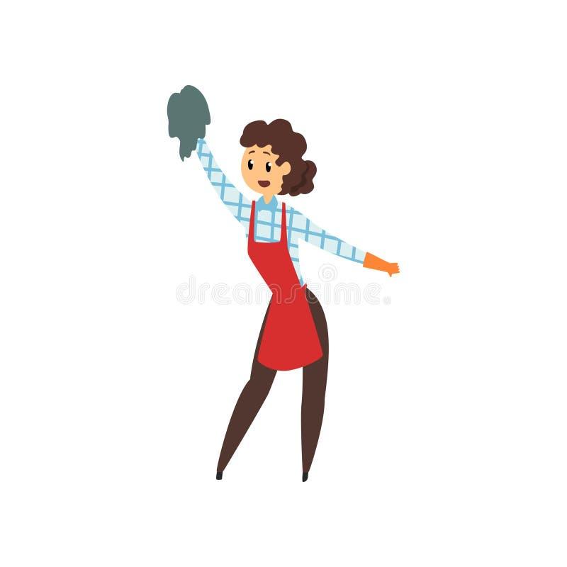 Kvinnalokalvårdhus med trasan Yrkesmässigt rengöringsmedel i enhetligt rött förkläde för hembiträde, bruna flåsanden, rutig blus  stock illustrationer