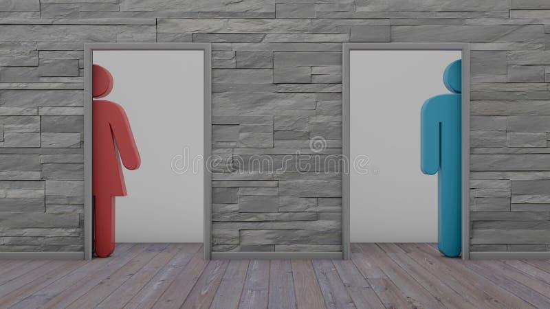 kvinnaman för toalett 3d och rörelsehindrat tecken på den vita tegelstenväggen royaltyfri illustrationer