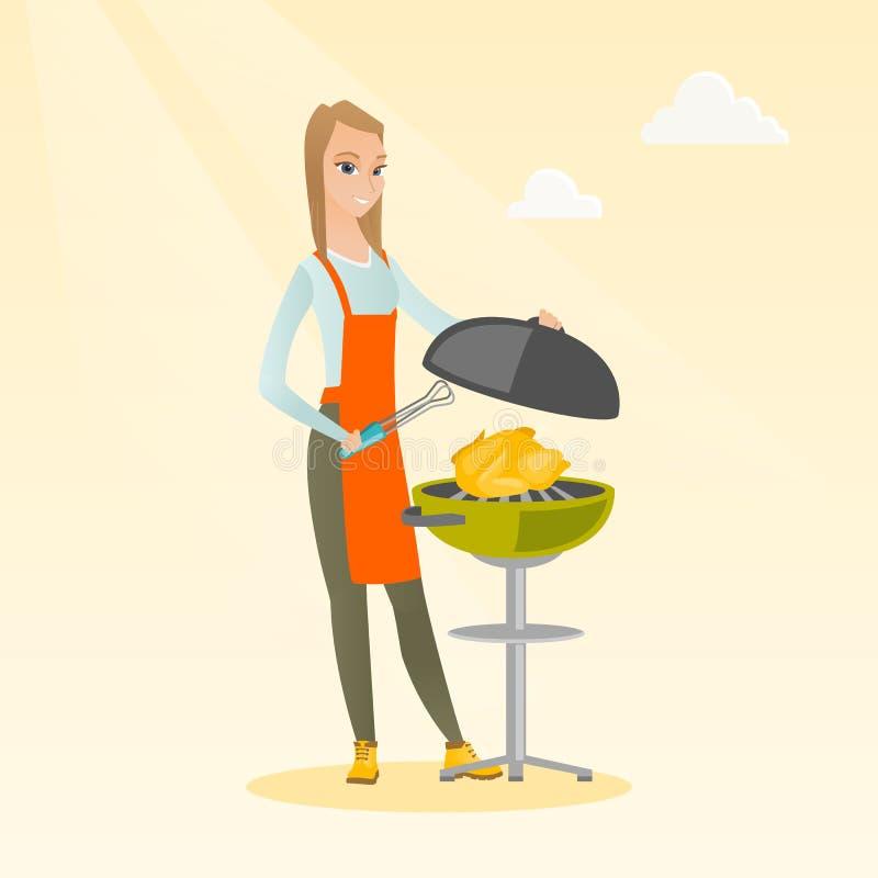 Kvinnamatlagninghöna på grillfestgaller royaltyfri illustrationer