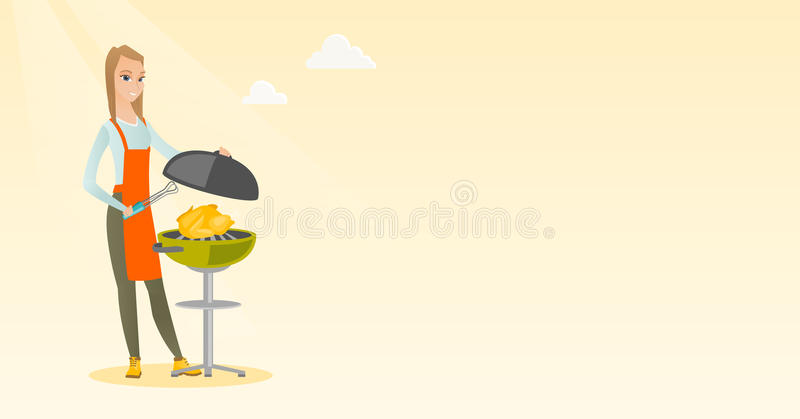 Kvinnamatlagninghöna på grillfestgaller vektor illustrationer