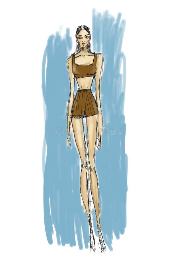 Kvinnamode skissar vektor illustrationer