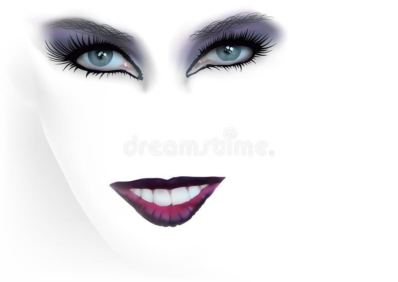 Kvinnamode synar makeup och röda kanter royaltyfri illustrationer