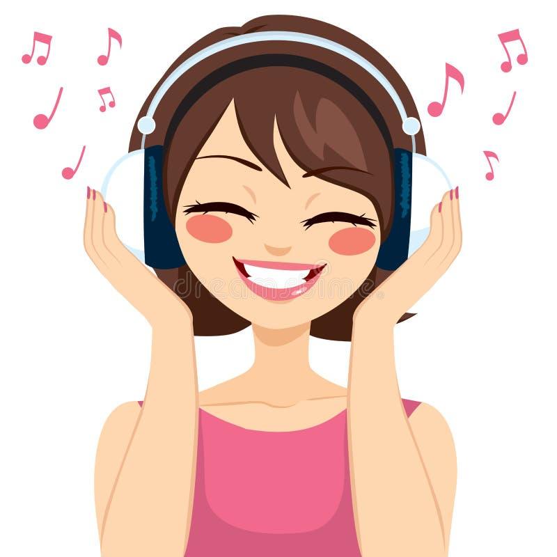 Kvinnamusikhörlurar stock illustrationer