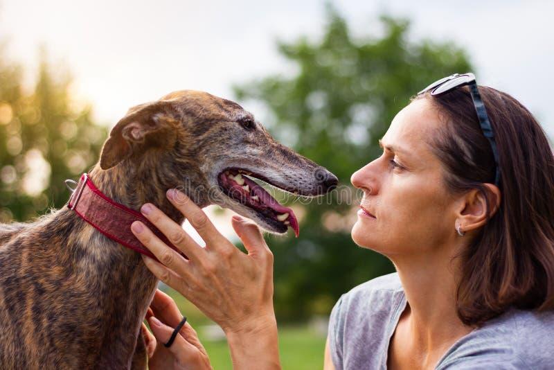 Kvinnan älskar hennes hund Husdjurägare och vinthund arkivbilder