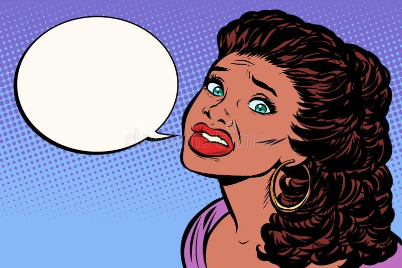 Kvinnan är rädd och talar Afrikansk amerikanfolk vektor illustrationer