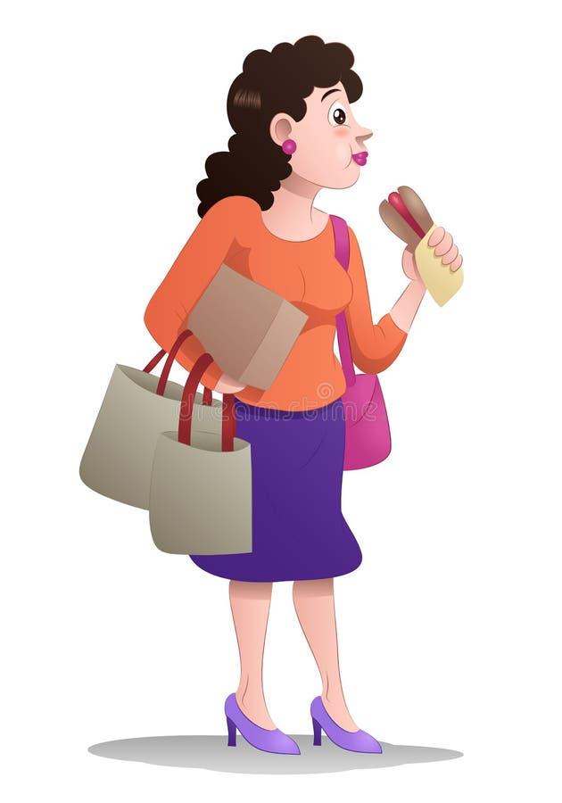 Kvinnan äter lunch medan hållshoppingpåsen på isolerat stock illustrationer