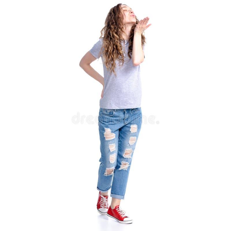 Kvinnan överför en luftkyss arkivfoto