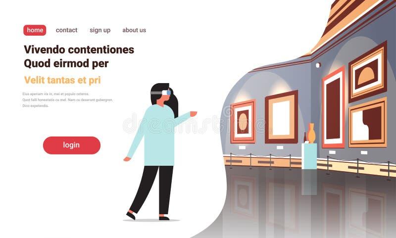 Kvinnan bär konstverk för målningar för digitalt museum för exponeringsglasvirtuell verklighetkonstgalleri inre idérika moderna e royaltyfri illustrationer