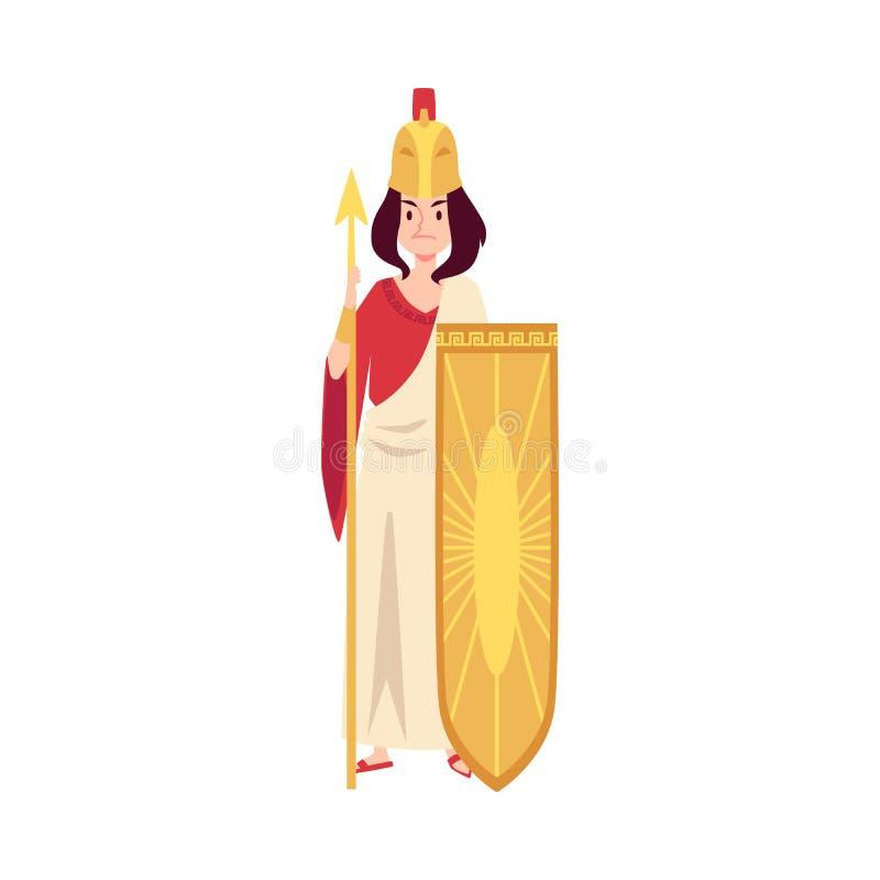 Kvinnan eller Athena Greek Goddess står rymma spjut- och sköldtecknad filmstil vektor illustrationer